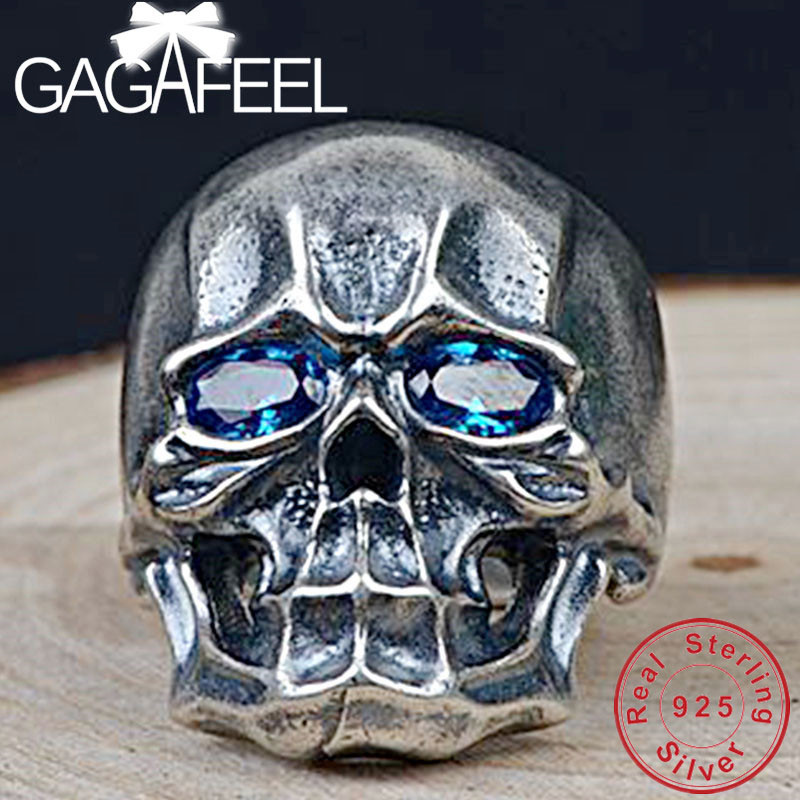GAGAFEEL 925 Sterling Silver Skull Rings for Men Women Punk Style Open Ring with Zircon High Quality