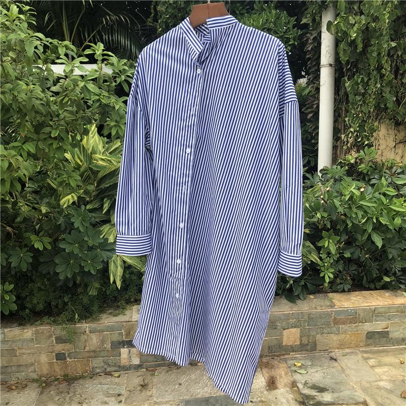 Nouvelle Rayé Coton 2018 À Longues Mode Femmes Qingdai Manches Casual Robe tsdrQh