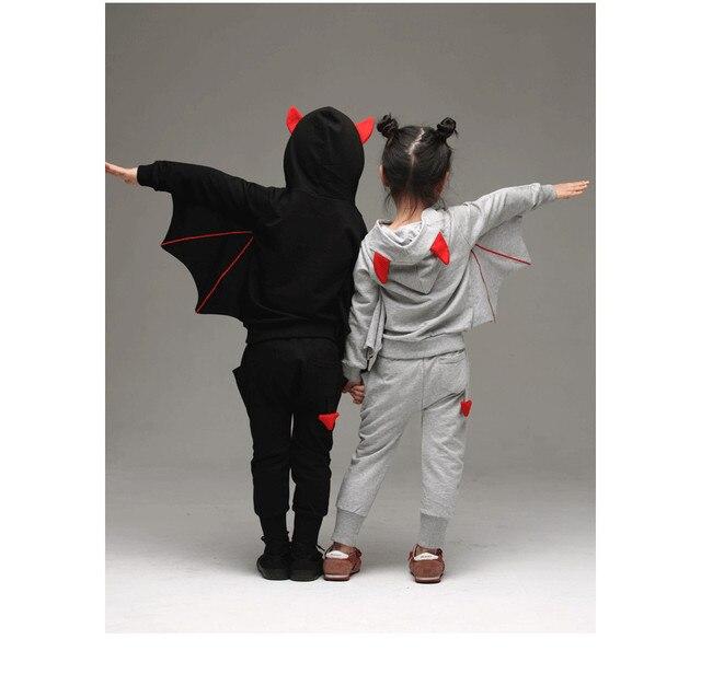 Spring Korean boy girl bat sleeve sweater suit autumn bat shape children's sets clothing two-piece suit