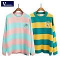 2016 Coreano nova Primavera blusas dos desenhos animados candy-colored stripes bordado solto sweater mulheres inverno raquete