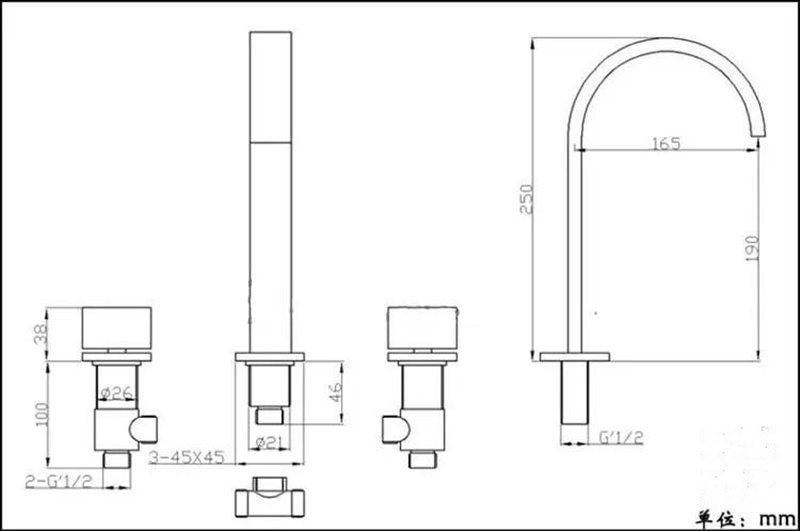 Robinet de lavabo en laiton noir/or/Chrome pont monté carré salle de bains évier mitigeur robinet 3 trous Double poignée robinet d'eau chaude et froide - 6