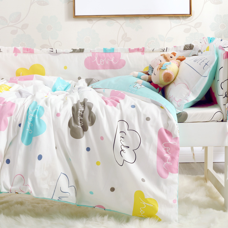 7pcs/set Elephant clouds design baby bedding set crib cotton bumpers bedding set baby bed around protection duvet cover sheet