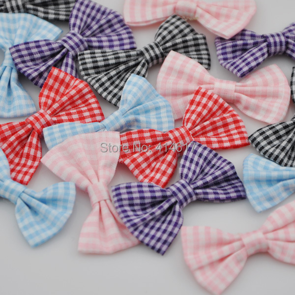 20pcs U Pick font b Tartan b font plaid Ribbon Bows flower Appliques craft Lots mix