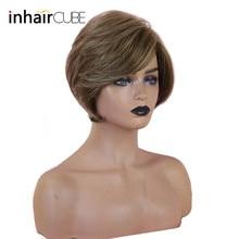 """INHAIRCUBE 1"""" женские парики из человеческих волос Синтетический парик смешанный цвет короткие волны многослойная боковая часть"""