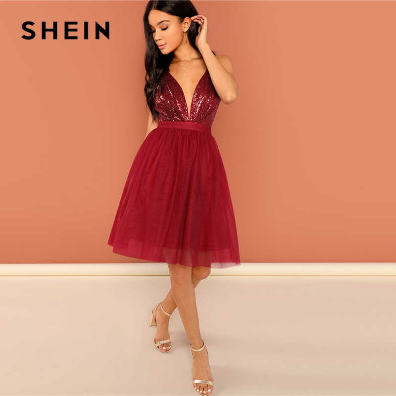 e5dff209 ... SHEIN Burgundy Sexy Party Backless Sequin Detail Mesh Halter High Waist  Solid Dress 2018 Summer Club ...