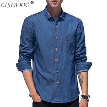 901fedfb27e 100% хлопок джинсовые мужские тонкая хлопковая рубашка Fit Повседневная рубашка  Мужская джинсовая рубашка с длинным