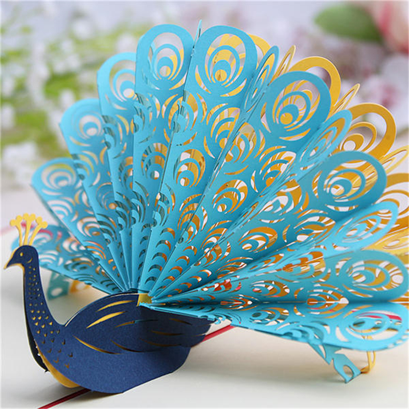 10pcs Personalized Laser Cut 3D Peacock Wedding Invitation Cards Paper Invitations  Wedding Decoration Mariage Favors(