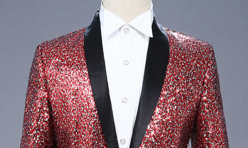 ... Shiny Silver Blue Sequins Blazer Jacket Men Shawl Lapel One Button Mens  Dress Suit Stage Prom ... d5e4c1a89608