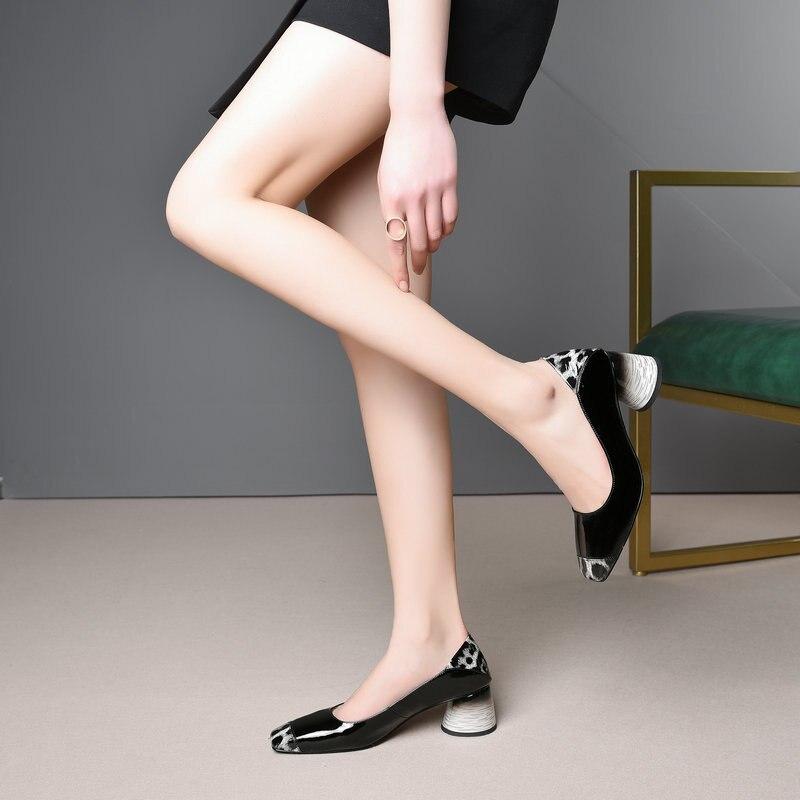 Véritable Pompes Sexy Chaussures Cuir Carré rose Talons Noir En Bout À Femmes Robe Rose Noir Hauts qzSVpUGM