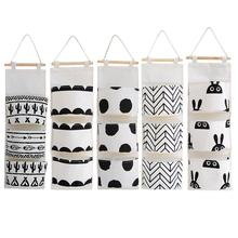 цены Black white Pattern Cotton Linen Hanging Storage Bag 3 Pockets Wall Mounted Wardrobe Hang Bag Wall Pouch Cosmetic Toys Organizer
