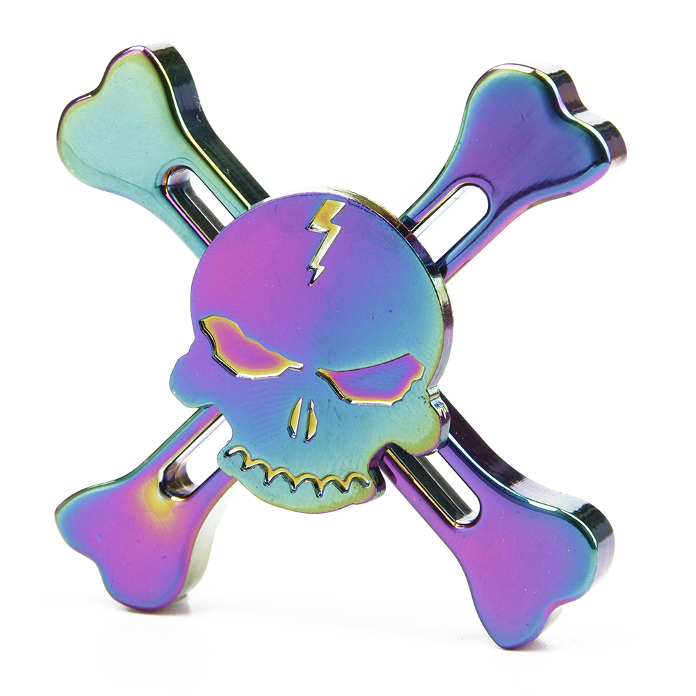 Rainbow EDC Skull Hand Spinner Alloy Finger Focus ADHD Autism Kids Toy Gyro