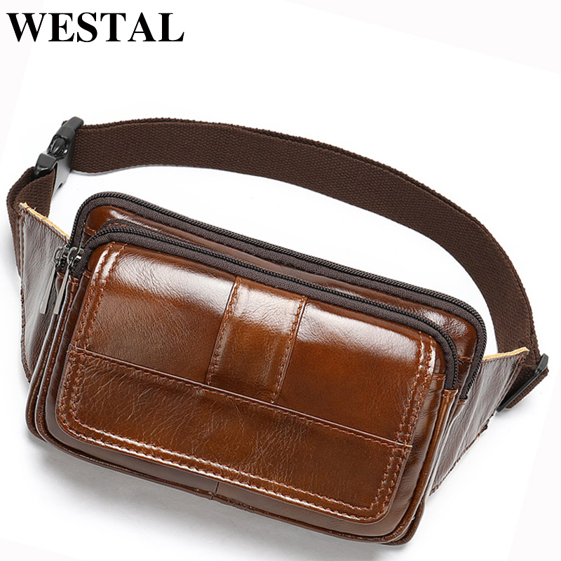 WESTAL Men's Waist Bags Genuine Leather Male Fanny Pack Phone Belt Bag Men Hip Bags Money Bags Belt Travel Waist Pack 8966