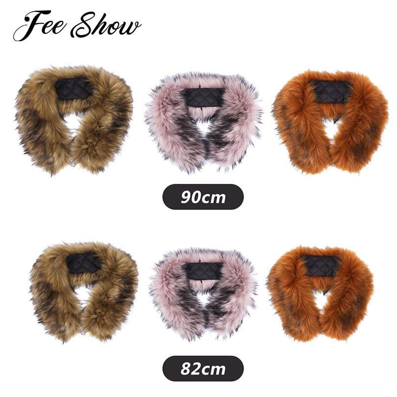 Fashion Winter Soft Elegant Trim Hood Faux Fake Fur Hood for Jacket Collar Wrap Shawl Warmer Scarf Wrap Suit for Fur Coat