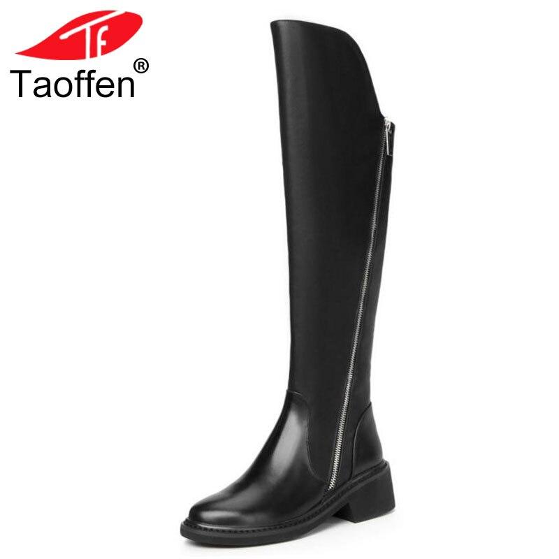 TAOFFEN/Для женщин Кожаные Сапоги выше колена из натуральной кожи на высоком каблуке на молнии ботинки на меху теплая обувь зимние высокие сапо...