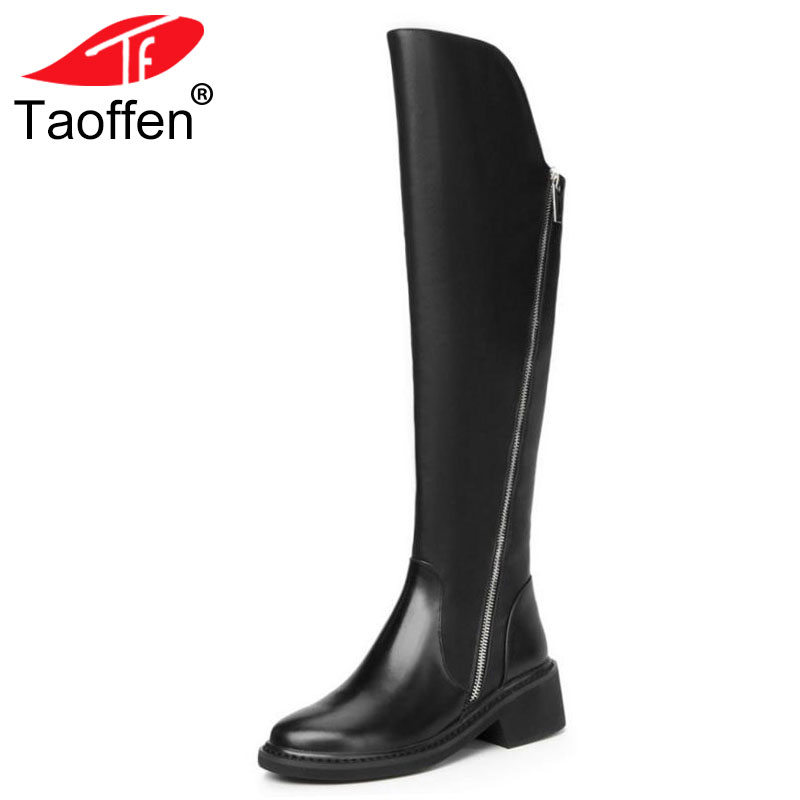 TAOFFEN Women Genuine Leather Over Knee Boots Zipper High Heel Boots Fur Warm Shoes Winter Long Botas Women Footwear Size 34-39 стоимость