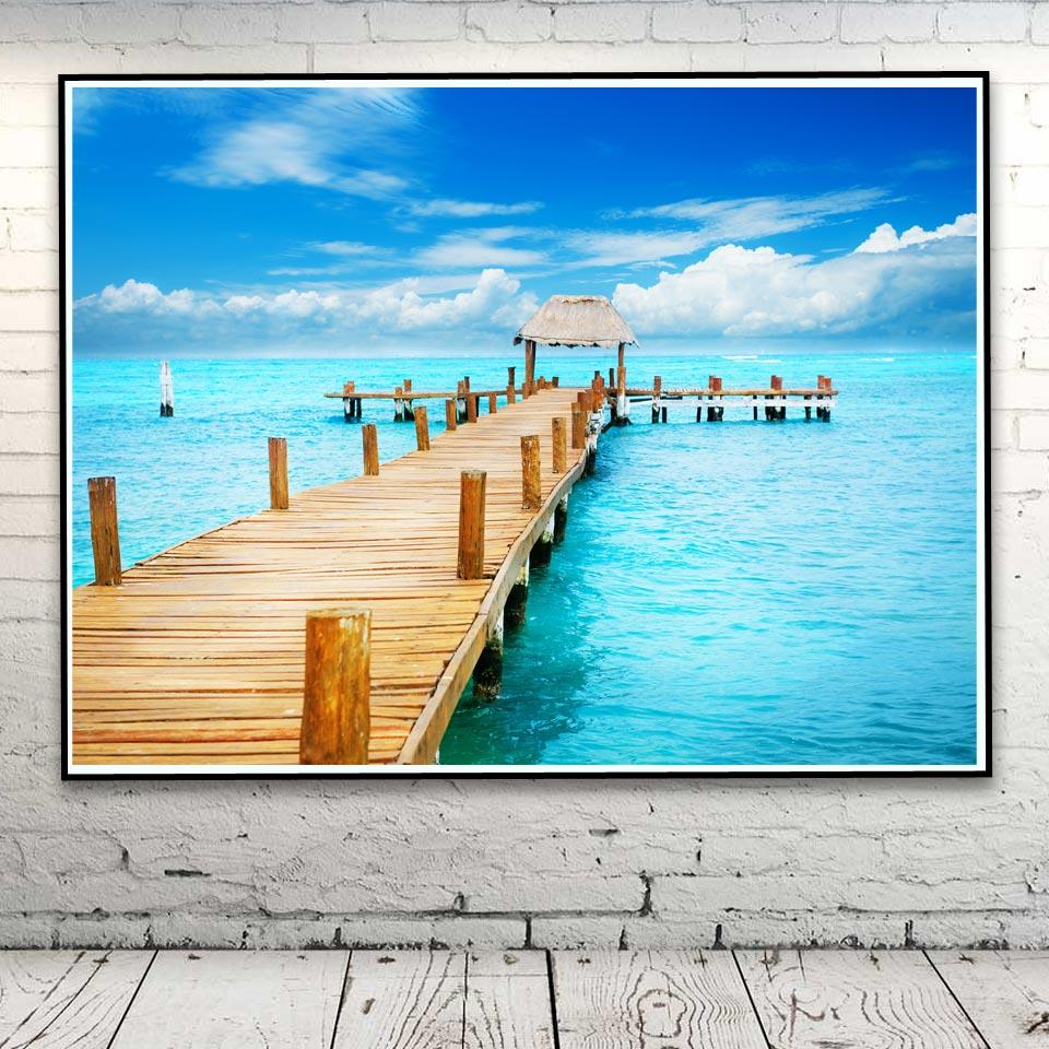 Natur Seascape Meer Kai Wolke Art Silk Poster Home Decor Bilder ...