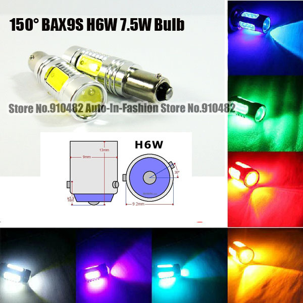 2pcs 7.5W H6W BAX9S 150 degree 64111 64113 64132 7.5W COB Chip LED Bulbs Parking Side Light white red blue yellow green pink