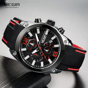 Image 2 - Megir herren Chronograph Analog Quarz Uhren Mode Rubber Strap Sport Armbanduhr mit Leucht Hände für Jungen 2063GS BK 1