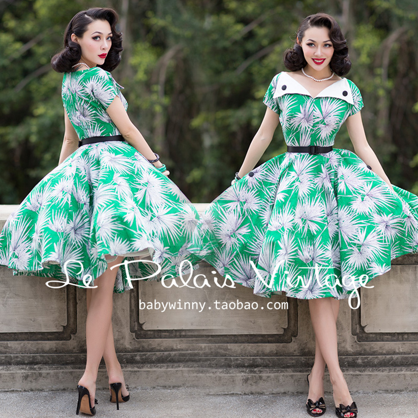 Buy Cheap FREE SHIPPING Le Palais Vintage 2016 Summer New Arrival Elegant Tropical Leaves Turn Down Collar High Waist Tutu Dress Women