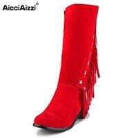 נשים אופנה מגפי ברך עקב כיכר גלדיאטור אישה ציצית בוהן עגולים Bootines Mujer גבירותיי אישה נעלי רוכסן גודל 33-50