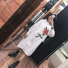Street fashion brief solid color embroidery applique flower loose single breasted POLO collar elegant one-piece dress female