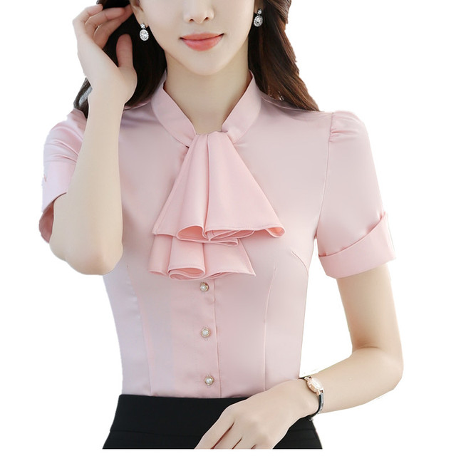 a045cd3b1fa Fashion women blouses bow tie shirt OL summer formal short Sleeve chiffon  blouse office ladies plus size summer tops S-4XL