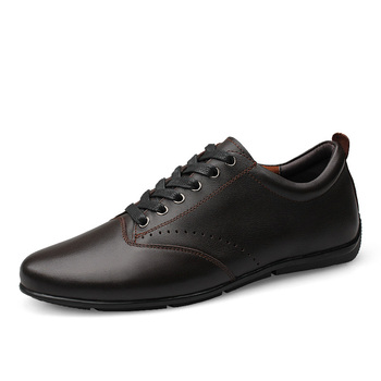 Men Flats Black Genuine Leather Formal Shoe