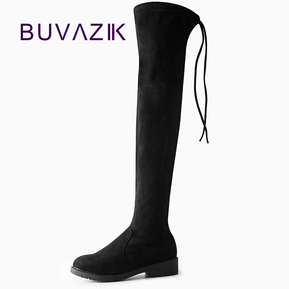 Women Boots 2017 Autumn Winter Ladies Fashion Slim Flat Heel Leather Shoes Over The Knee Thigh Stretch Fabric High Long Boots fashion slim rivets thick heel pointed toe zip winter snow boots genuine leather stretch fabric over the knee boots women boots