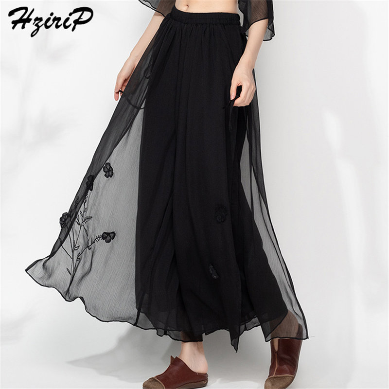 HziriP Korean 2019 New Stylish Embroidery Floral Lace Female Solid Ladies Thin Loose Casual Simple Free   Wide     Leg     Pants   4 Colors
