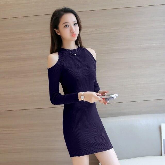 4b46e77e5700a Видео сплит сексуальное платье вязать Мода 2018 Новый Осенняя женская обувь  весенние платья с длинным рукавом
