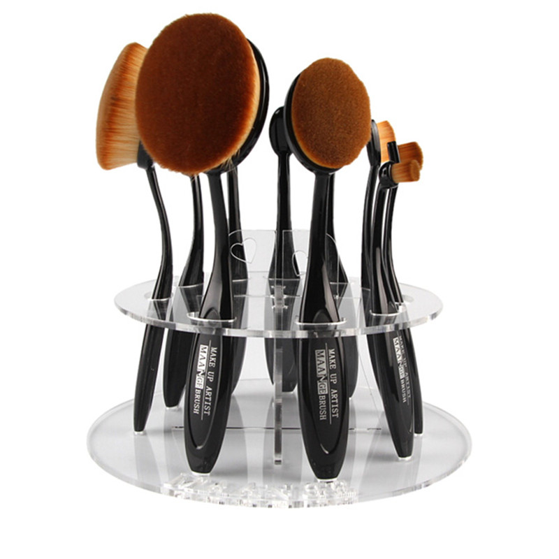 Top Quality New Arrival 10 Hole Oval Makeup Brush Holder Drying Rack Organizer Cosmetic Shelf Tool easy install brush drying rack tree for different standard holes random color