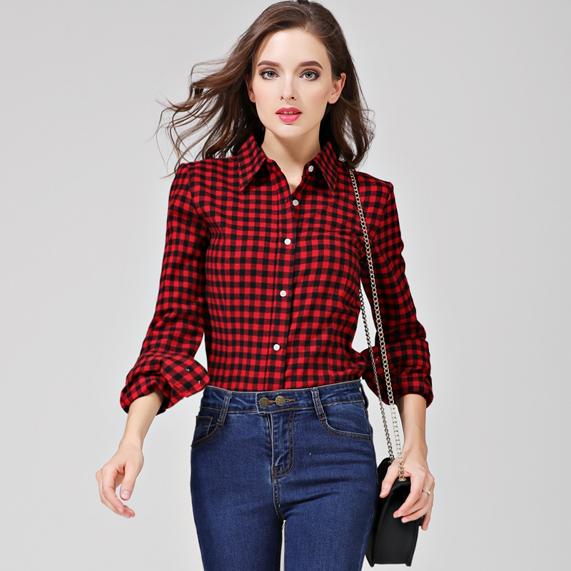 a297ead5f0e 2019 New Brand Women Blouses Long Sleeve Shirts Cotton Red and Black  Flannel Plaid Shirt Casual ...