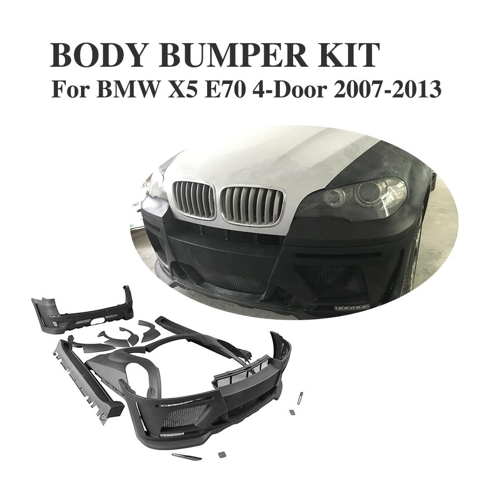 Sin pintar frp negro car guardia parachoques hm estilo kits de carrocer a para el bmw x5