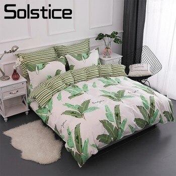 Solstice Home Textile King Twin 100%Cotton Bedding Set Baby Kid Teen Girl Boy Linen Banana Leaf Duvet Cover Bed Sheet Pillowcase