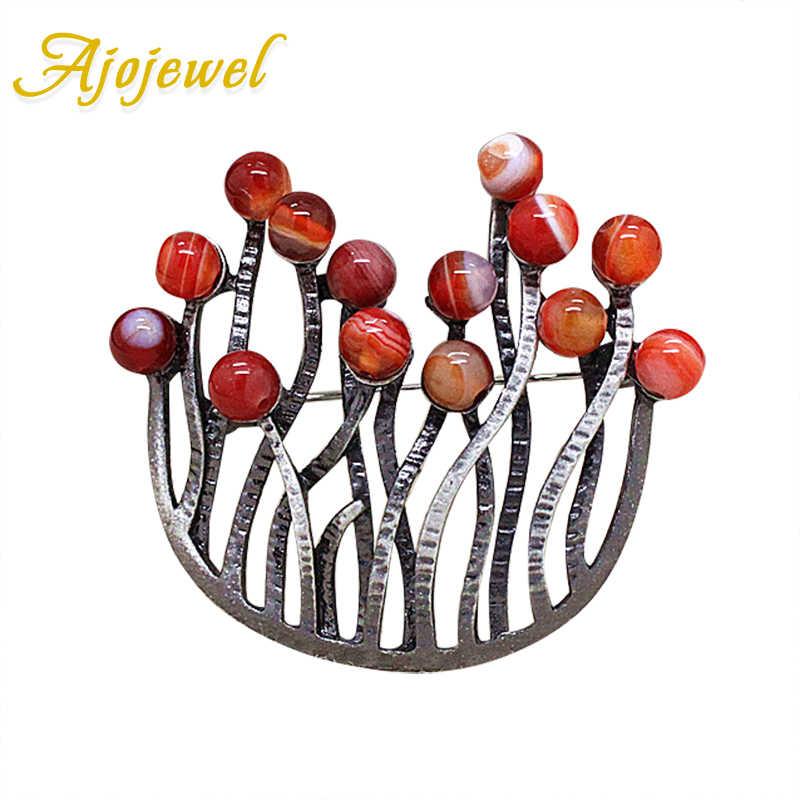 Ajojewel Merek Vintage Perhiasan Merah Batu Alam Booches untuk Wanita Aksesoris Syal Gesper Baik Hadiah