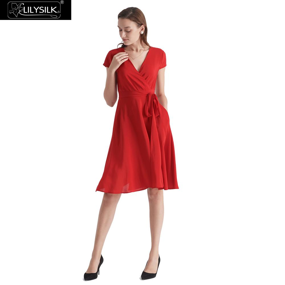 LilySilk Dress Silk Women Figure Flattering Wrap Ladies Free Shipping