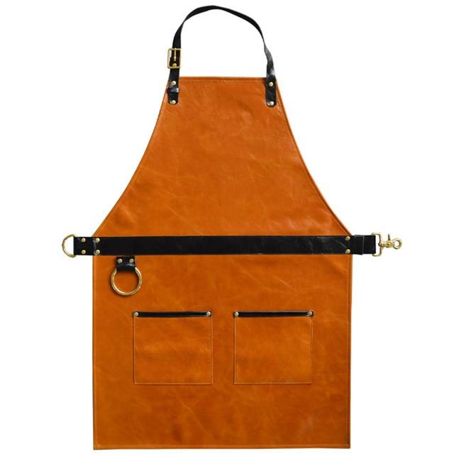 Full Grain Cow Leather Apron Barista Bartender BBQ Chef Catering Uniform Barber Painter Artist Carpenter Florist Work Wear L5