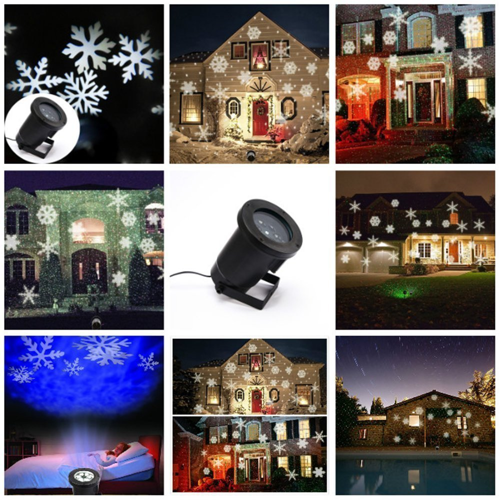 2018 newest christmas lights white moving snowflake light projector holiday outdoor decorations waterproof for landscape garden - Christmas Outdoor Projector