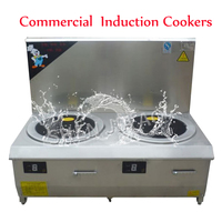 15KW Cooking Appliances Induction Cookers Stove Commercial Flat Head Double Head Electromagnetic Soup Furnace Machine 380V