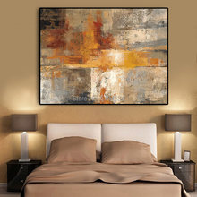 Abstract Nordic Style Gold Hand Oil Painting on Canvas Scandinavia Art Wall Pictures For Living Room Home Decor(China)