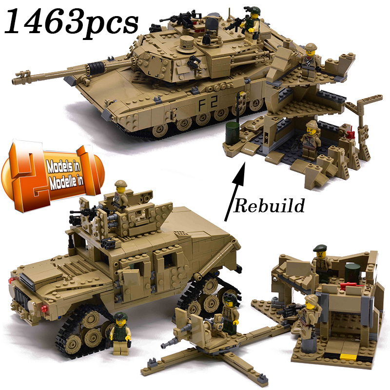 2019 Military M1A2 Tank 1463pcs Bricks Abrams Main Battle Tank Building Block Sets Models 2in1 Toys Compatible with Legoingly2019 Military M1A2 Tank 1463pcs Bricks Abrams Main Battle Tank Building Block Sets Models 2in1 Toys Compatible with Legoingly