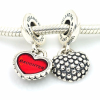 Fits Pandora bracelet 925 sterling silver charms red enamel charm pendant mother and daughter doing DIY jewelry bracelets