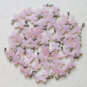 Image 4 - 天然石クロスペンダント女性のギフト18*25ミリメートル卸売50ピース/ロットクリスタルネックレスジュエリーメイキングのために送料無料
