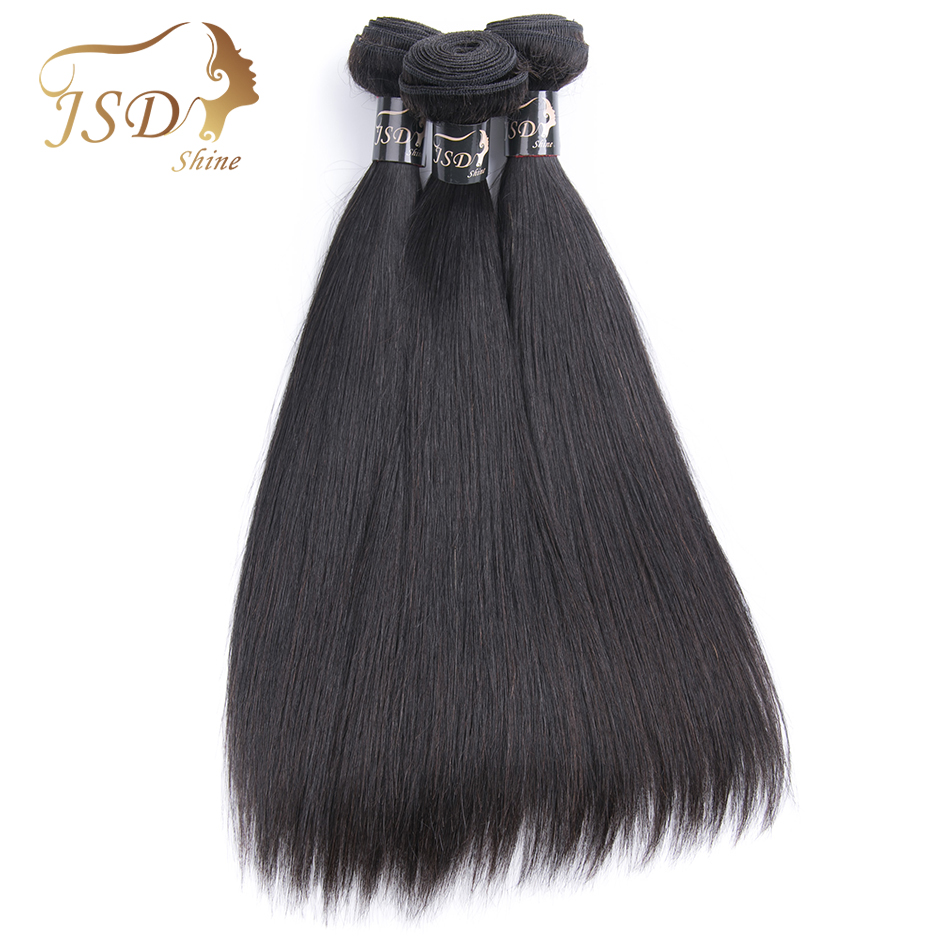 JSDShine Hair Indian Straight Hair Bundles Human Hair Extensions Double Weft Remy Hair Weave Bundles 8-28Natural Color 3PC