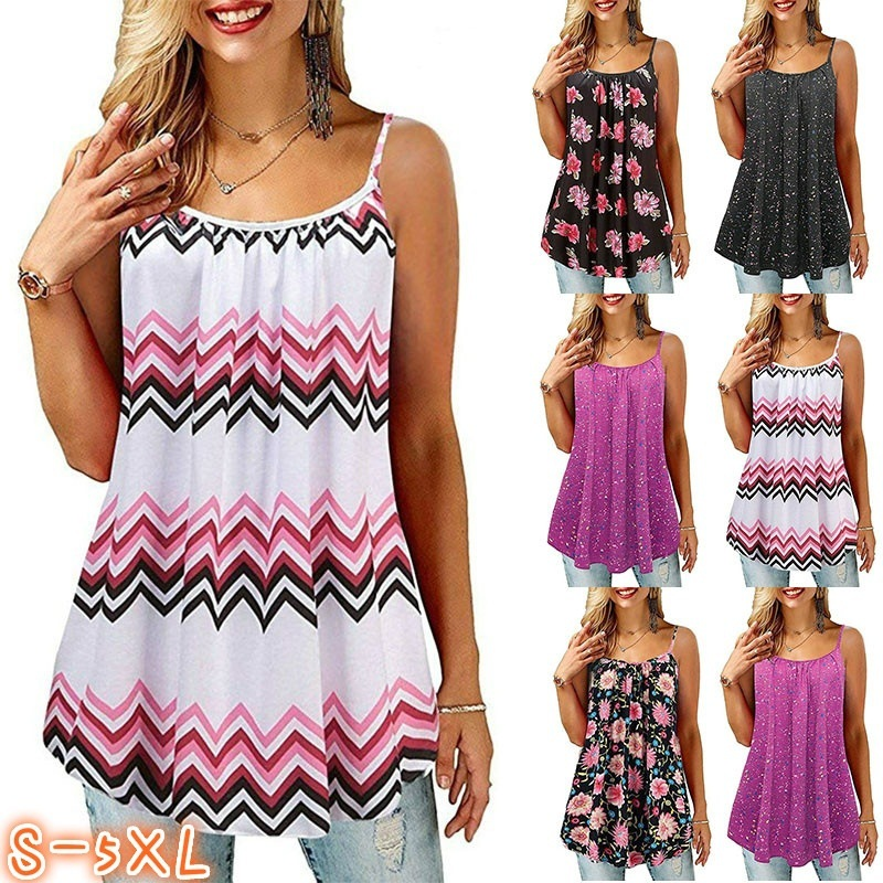 2019 Summer Plus Size Camis   Tank     Top   for Women Spaghetti Strap Flower Print Sleeveless Casual   Top   (S-5XL)