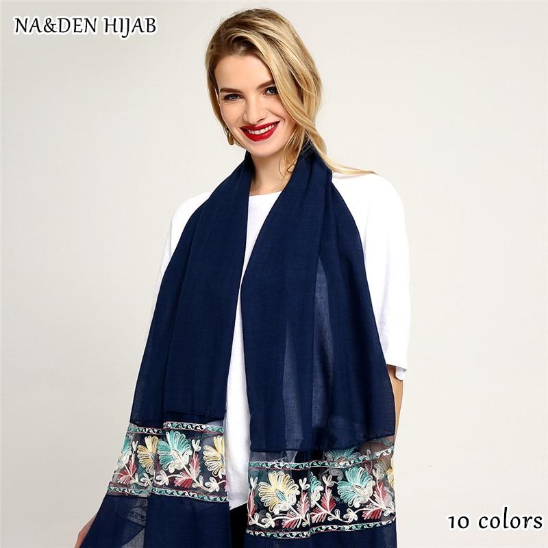 NEW organza patchwork scarf embroider flower shawl fashion muslim hijab women scarves shawls brand soft muffler