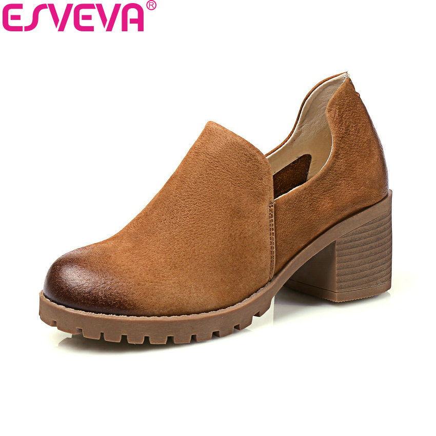 ESVEVA 2018 Woman Pumps Slip on  Round Toe Western Style Spring Shoes Square High Heels Platform Ladies Pumps Shoes Size 34-40 nayiduyun women casual shoes low top platform wedge high heels boots round toe slip on pumps punk chic shoes black white sneaker