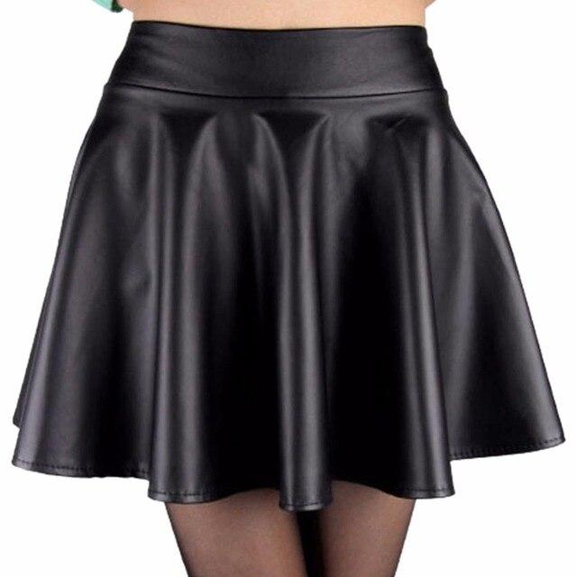Frauen Hohe Taille Faux Leder Mini Rock Über Knie Einfarbig Ausgestelltes  Plissee Kurzen Frauen Rock Neue 086e0e919b