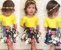 Европейский дизайн 2016 мода марка детей летние платья для девочек комплект одежды девушка конфеты цвет желтый футболка + юбка костюм