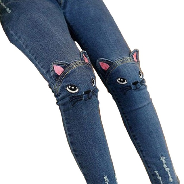 2016 New Design Girls Cartoon Jeans Top Quality Children Print Cat Skinny Trousers Cute Scool Casual Outerwear for Kids,RC353